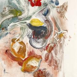 Flowers-vase-and-2-Lemons